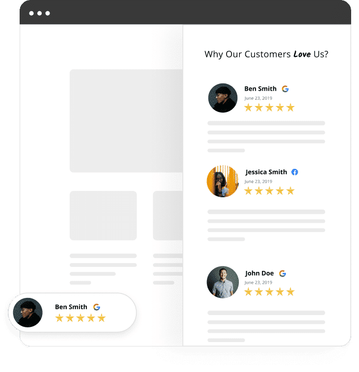 website widget popup reviews widget