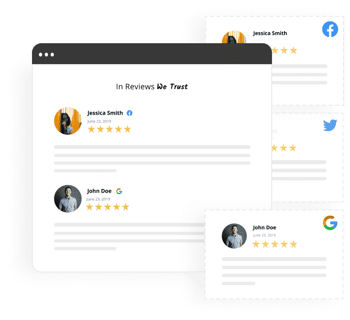 Facebook and Google reviews widget