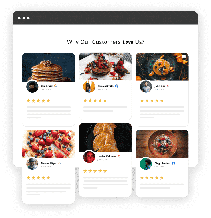 reviews widget grid layout