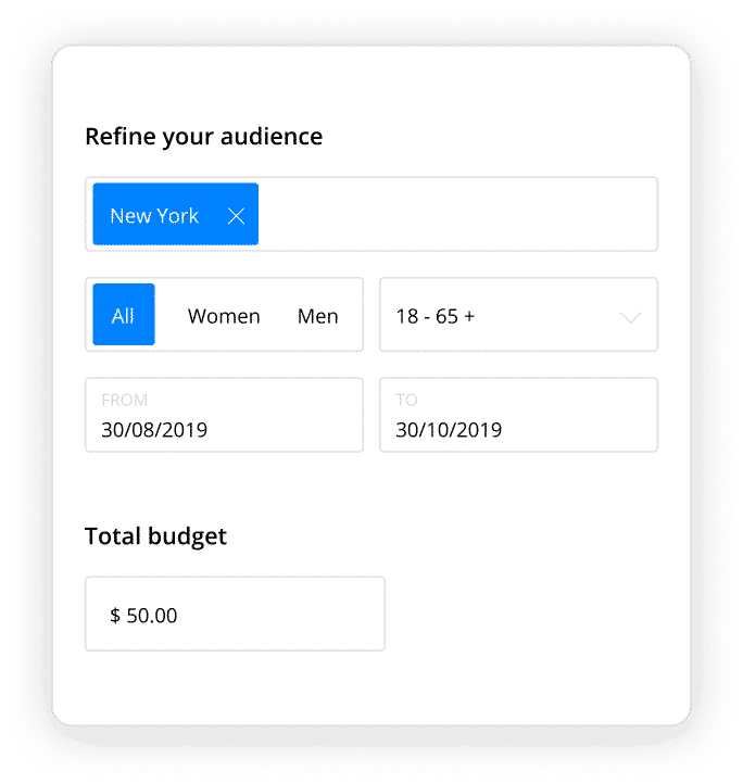 add targeting and facebook ad budget