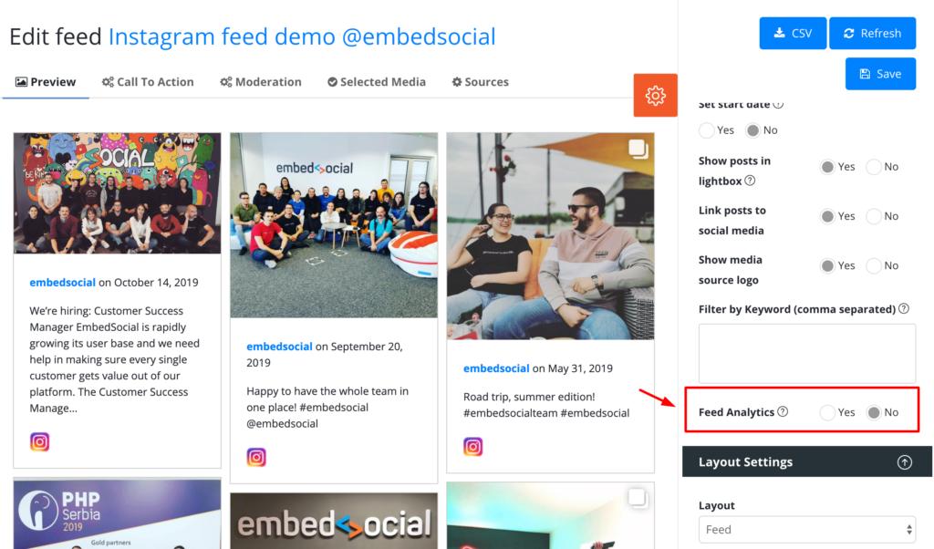 social feed analytics option