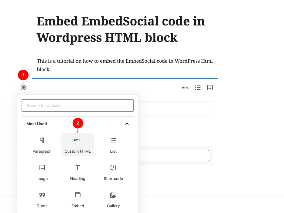 embed reviews in WordPress HTML block
