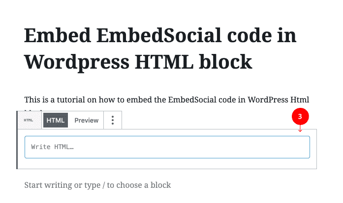 past html code in WordPress block