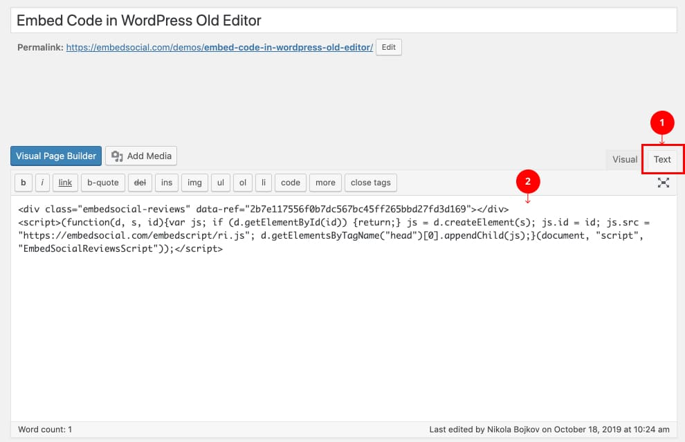 wordpress old text editor