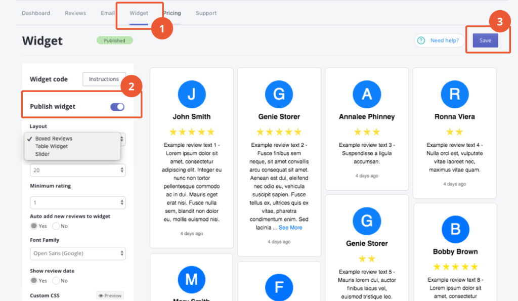 publish reviews widget in shopify