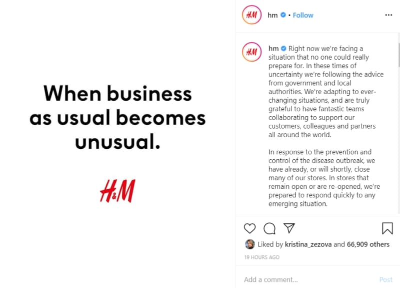 H&M announcement corona on instagram