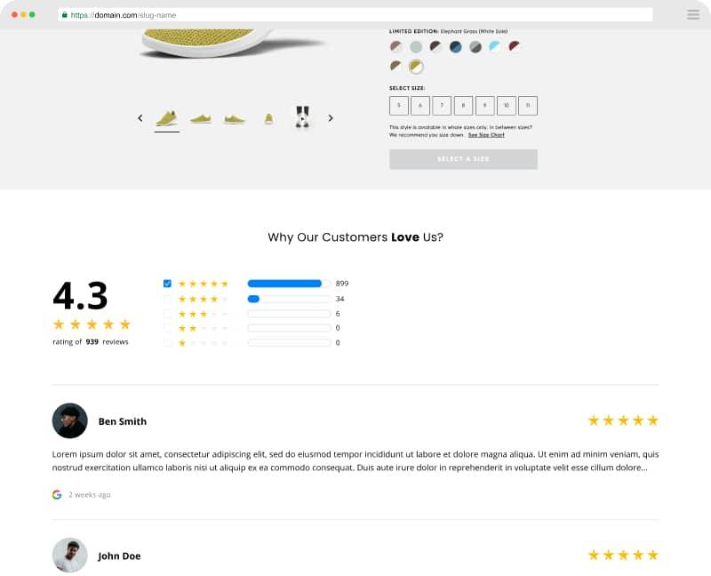 testimonials widget ecommerce page
