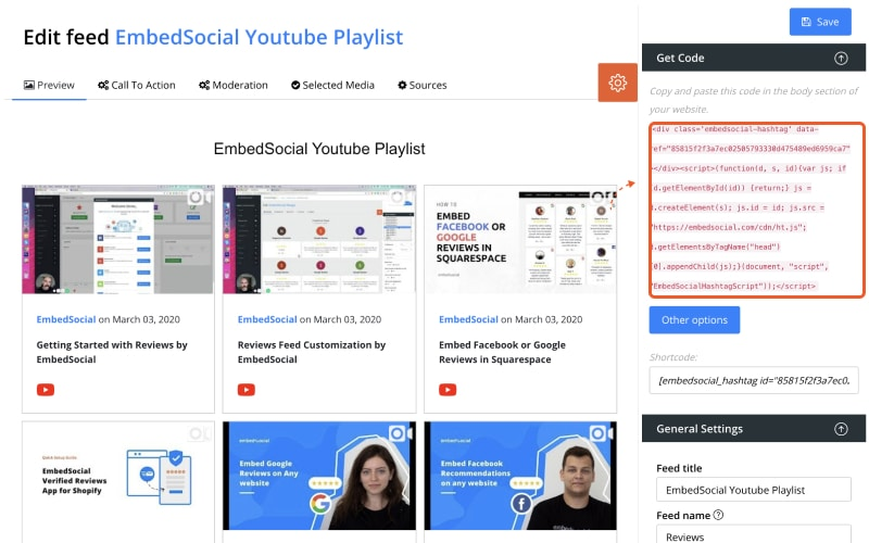 youtube playlist code
