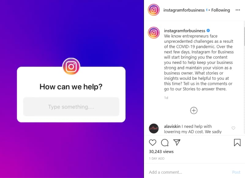 Question post Instagram