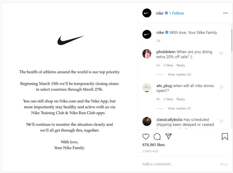 Nike announcement corona on instagram