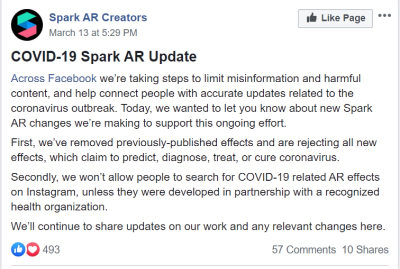 remove covid19 effects spark ar