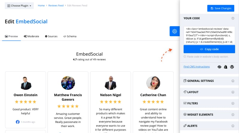 customization settings for reviews widgets