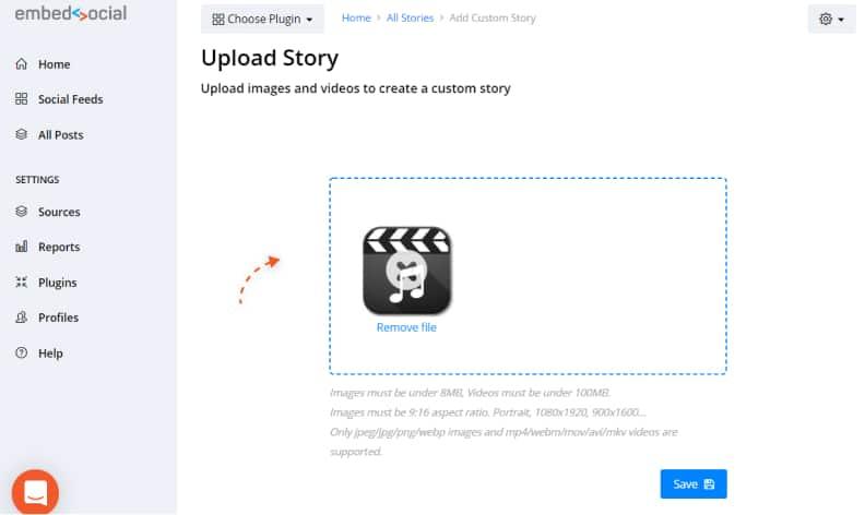 upload custom video story slide