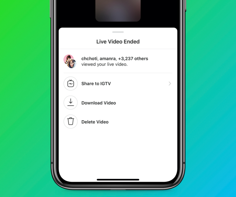 Instagram IGTV live sharing feature