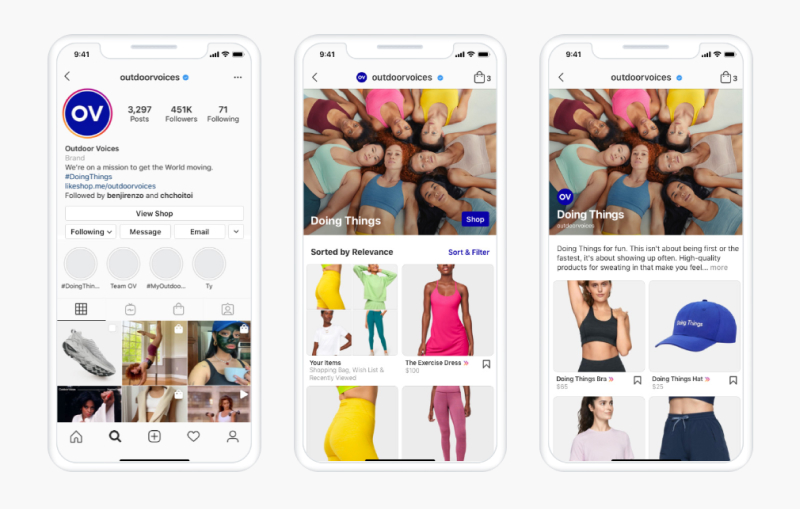 Instagram shops feature