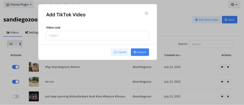 create TikTok video widget