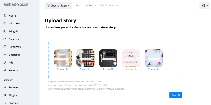 upload story pins on website