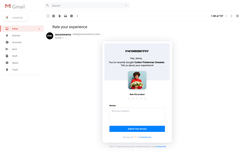 collect reviews in amp email