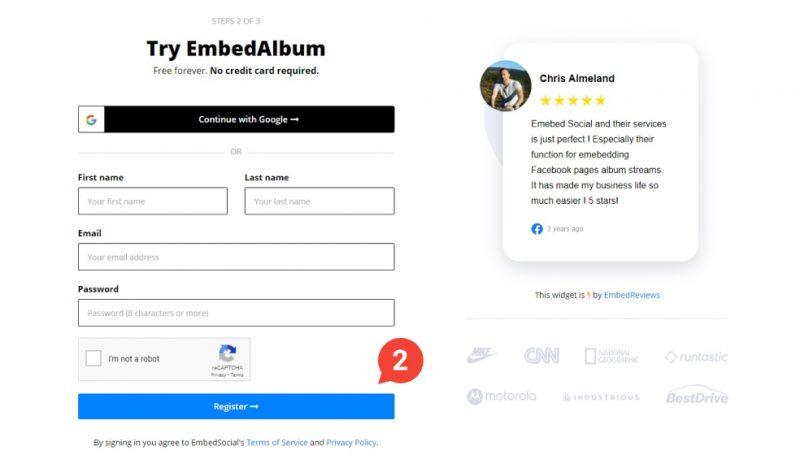 embedalbum register free account