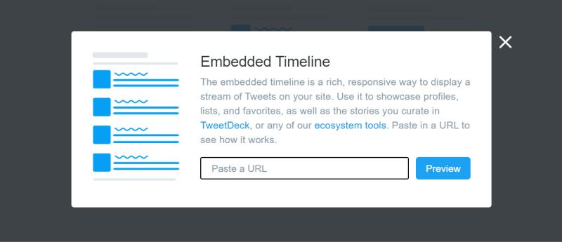display twitter timeline