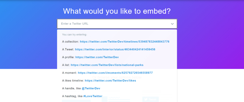 options to embed twitter