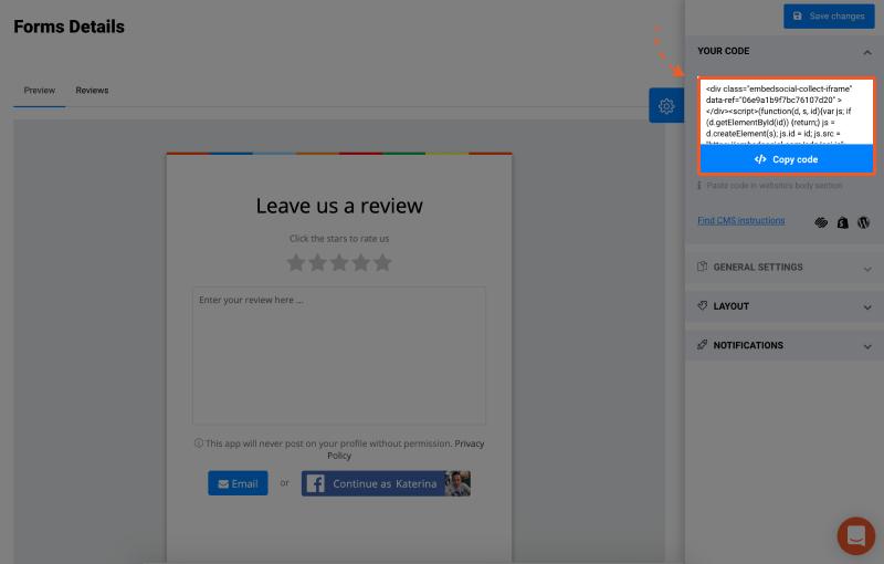 feedback form embed code