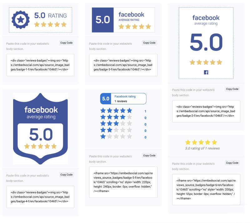 facebook rating badges
