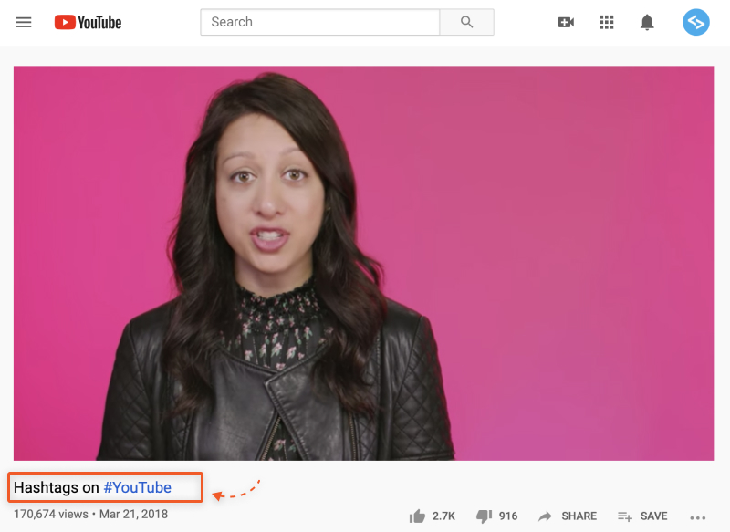 add hashtag in youtube video title
