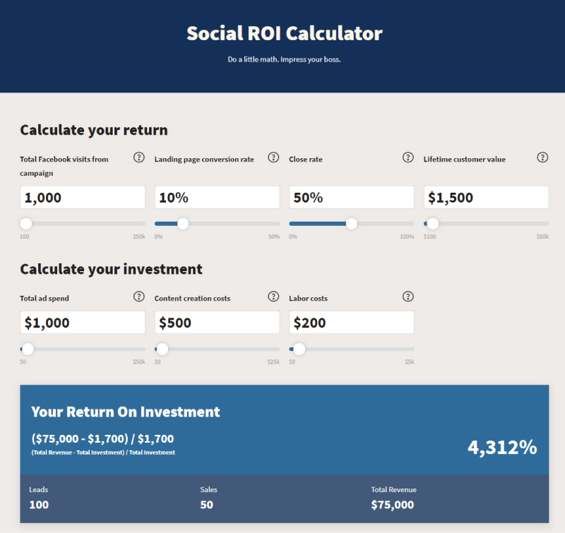 social roi calculator