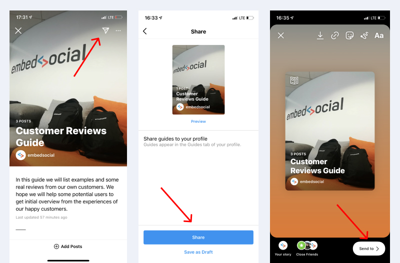 share instagram guides in story