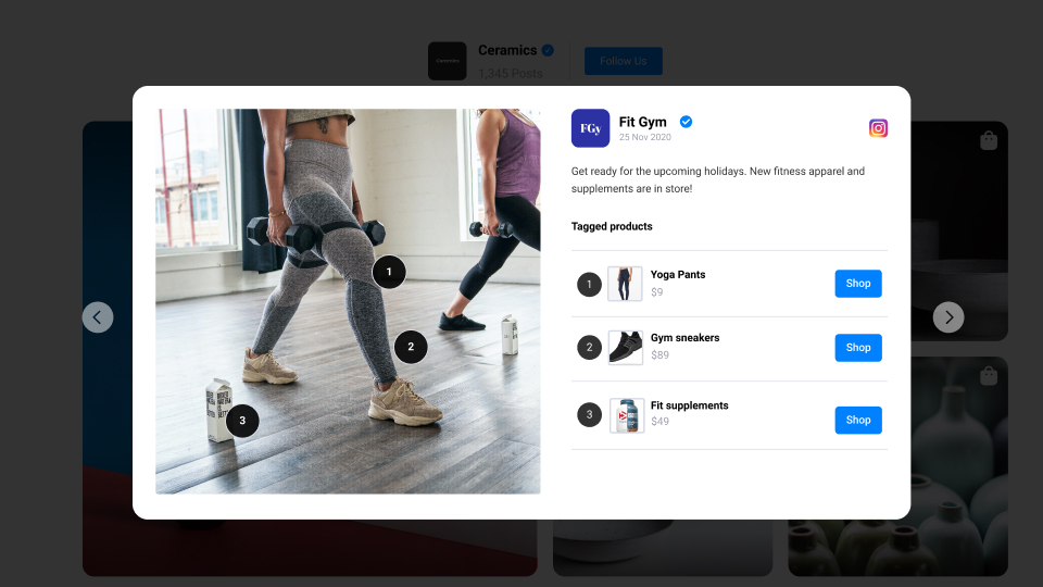 fitness example of shop my feed
