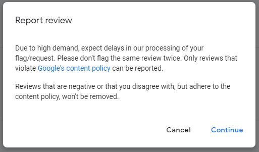 report google reviews, google content policy