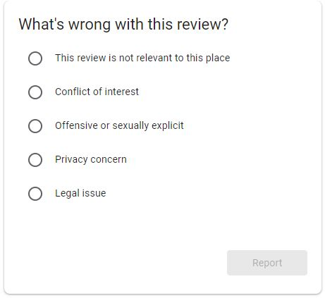 select reason, flag google review