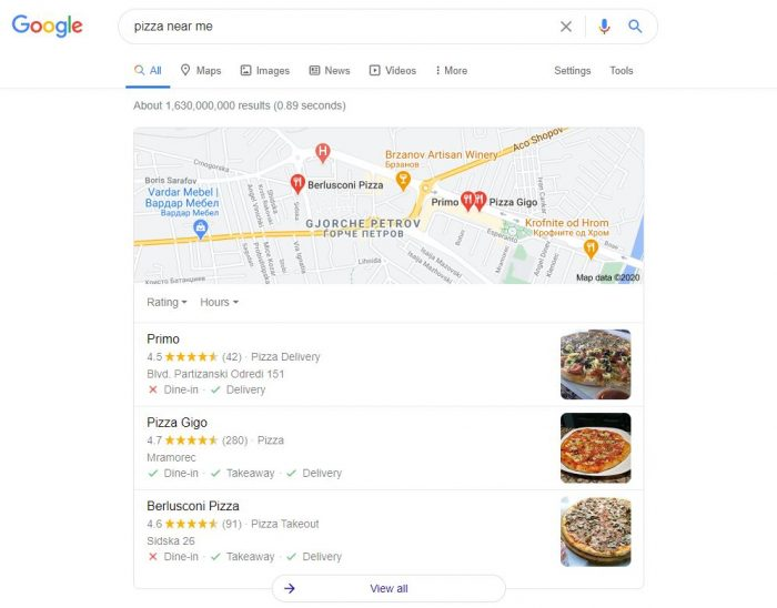 google reviews, google search results