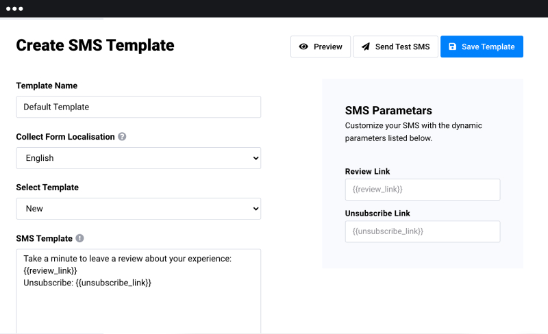 sms template for review request