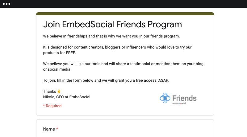 embedsocial friends program