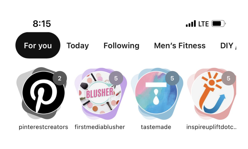 Pinterest new story section