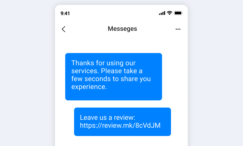 sms leave review message