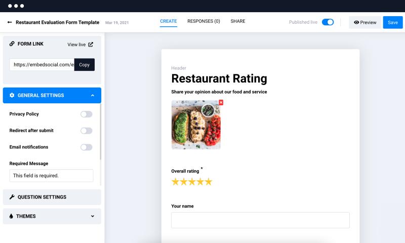 embedforms for restaurant