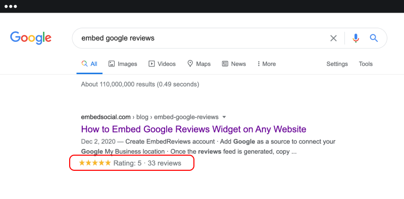 Online reviews SEO with google rating schema