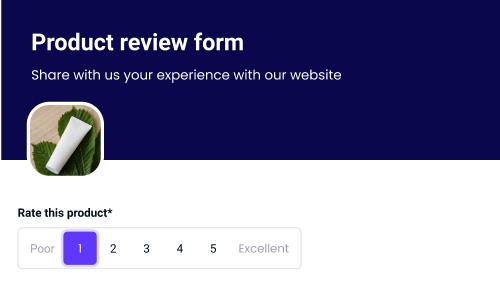 online shop reviews form