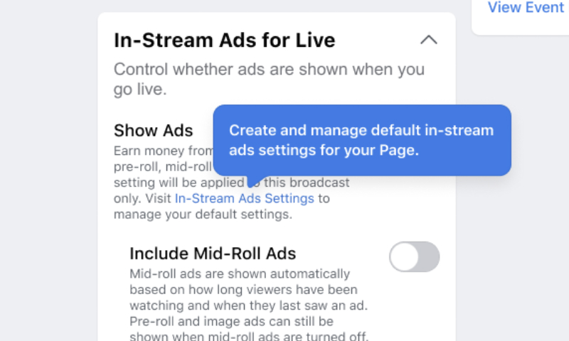 enable facebook in-stream ads