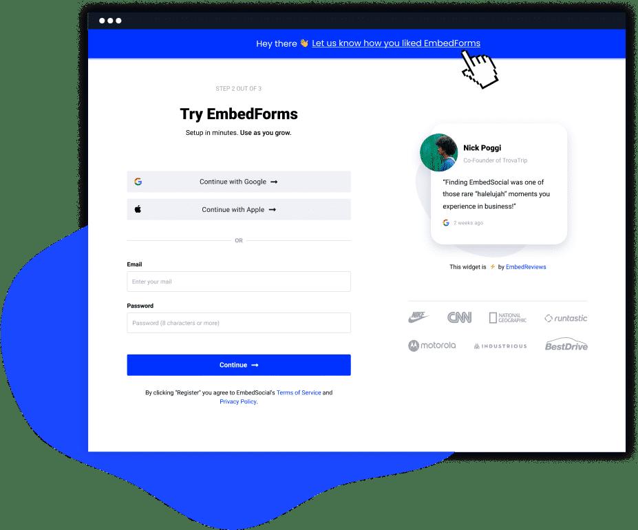 feedback form banner widget